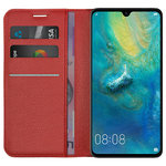 Leather Wallet Case & Card Holder Pouch for Huawei Mate 20 - Red